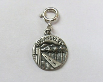 Sterling Silver Los Angeles Coin Charm-Fits European and Traditional Charm Bracelets-2096