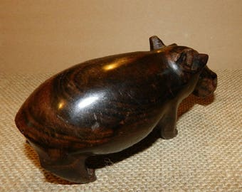 Hippopotamus sculpture black and Brown ebony for home decor and nursery