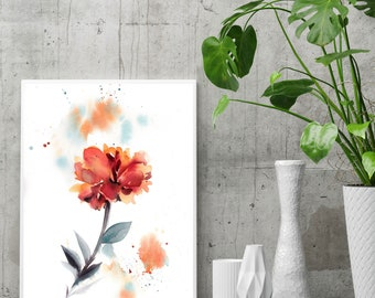 Red Flower botanical modern fine art print, flower watercolor painting art, floral wall art print for home decor