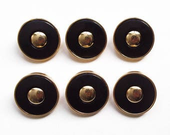 6 buttons round black and gold 20 mm acrylic
