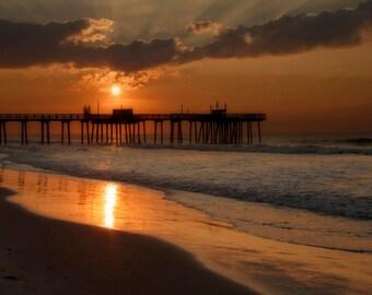 Sunrise at the New Jersey Shore, Landscape Photograph, Margate Pier, Beach Decor, Ocean, Summer Morning, Gold, Orange, Sky, Art Print