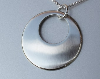 Sterling Silver Pendant, Silver Jewelry, Circle in Circle.