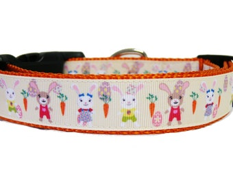 """Easter Bunny Carrot Dog Collar, Cream, Dog Gift, Spring, Carrot, Happy Easter, Puppy, 1"""" wide"""