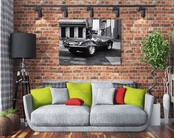 Awesome Vintage Steve McQueen In His Jaguar XKSS 36 x 24 Canvas Art Print Hi Res Wall Art