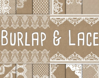 Burlap and Lace Digital Paper: Burlap Wedding Invitation Paper, Lace Paper, Lace Background Rustic Wedding Decor, Burlap Wedding Decorations