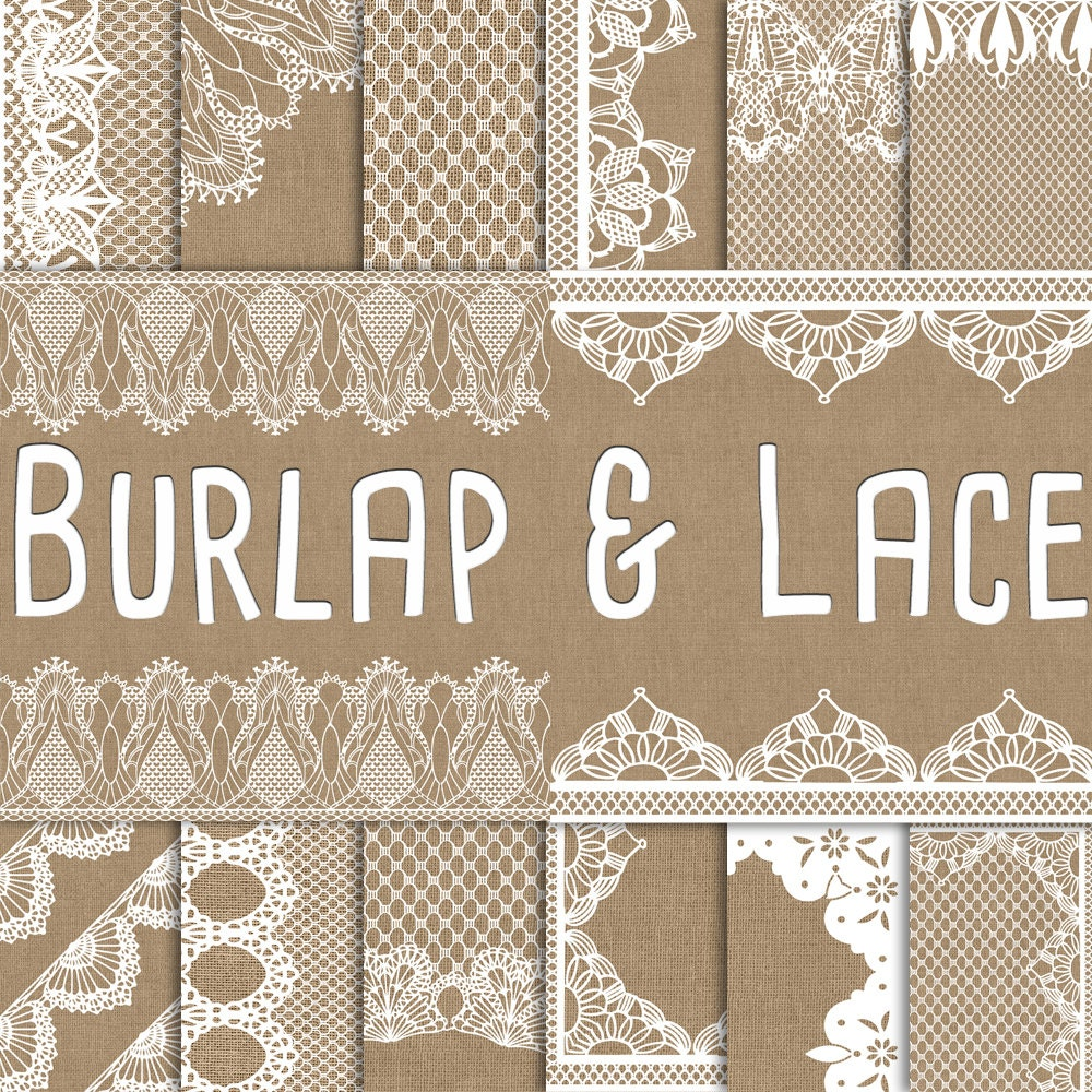 Burlap And Lace Digital Paper Wedding Invitation