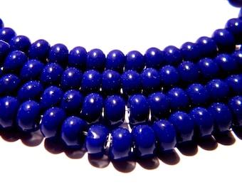 30 pearls 6 x 4 - glass abacus - pumpkin way jade - blue night F119 4