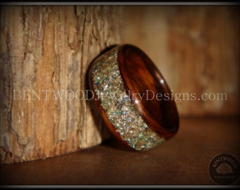 Bentwood Ring Rosewood Wood Ring with Silver, Blue and Green Glass Inlay using the bentwood process for a durable and beautiful wood ring.