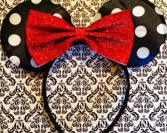 Classic Red Glitter Bow Tie inspired Black Polka Dot Satin Minnie Mouse Headband Ears
