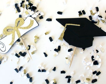 Graduation Hat & Diploma Cupcake Toppers | Graduation Party Decor | School Colors | Gold or Silver Glitter Graduation Cupcake Toppers