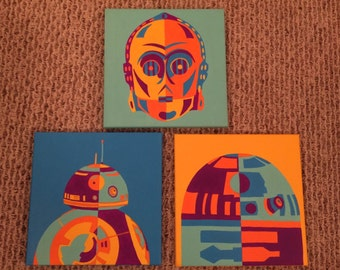 Star Wars Hand Painted Bb-8 C3PO R2d2 Canvas Set of 3 12x12