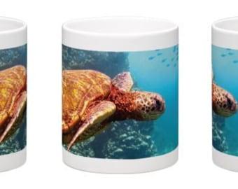 15 oz. Coffee Mug w/ Underwater Hawaiian Sea Turtle at Shark's Cove on the North Shore, Oahu, Hawaii