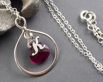 Infinity Necklace July Birthstone Necklace Infinity Personalized Necklace Initial Necklace - Ruby Necklace Eternity Necklace Sterling Silver