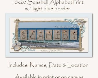 HIdden Mickey Seashell border Family name print