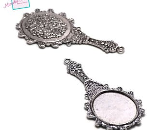 """2 """"mirror"""" 31 x 70 mm, silver pendant charms"""