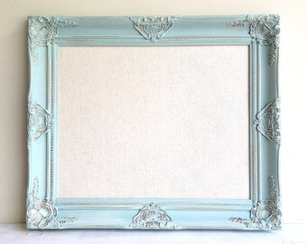 LINEN BOARD Pinboard Framed Cork Board Robins Egg Blue Framed Cork Board Teal Shabby Chic Decor Wall Decor Jewelry Organizer