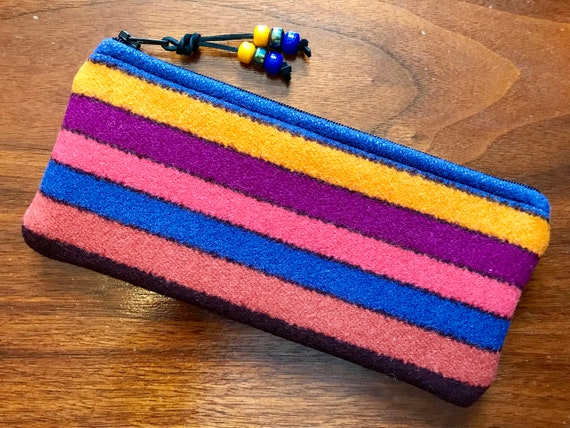 Wool Sunglasses Case / Glasses  Case / Tampon Case / Zippered Pouch Bright Stripes