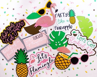 Flamingle Photo Booth Props | Flamingle Bachelorette | Flamingle Birthday | Flamigo Party Decor | Pineapple Party | Flamingle Party | Tropic
