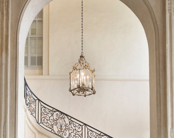 Paris Photography - Musee Rodin Staircase with Chandelier, Neutral Decor, French Home Decor, Large Wall Art