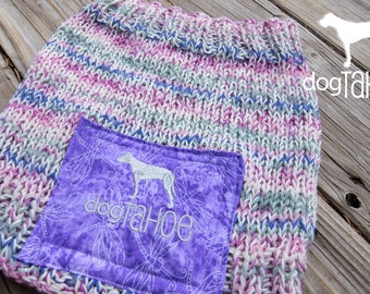 Pink and Purple Hand Knit Neck Gator
