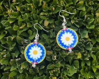 Dare to Daisy ~ hand painted dangly earrings