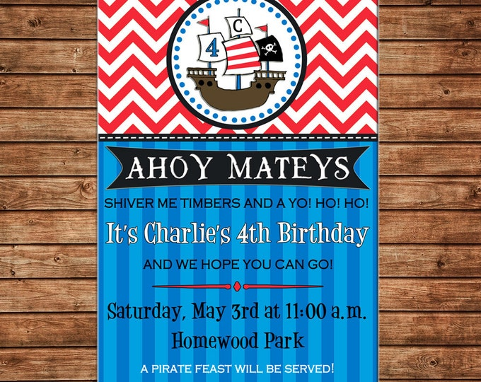 Boy Invitation Pirate Ship Birthday Party - Can personalize colors /wording - Printable File or Printed Cards