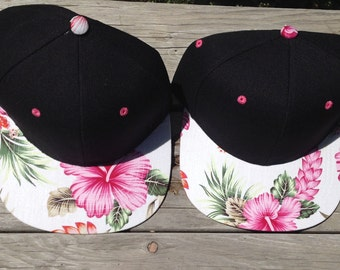 Floral Snap Back Hat..Hawaiian Hat..One Size Fits All. Listing Is For One Hat Only!!