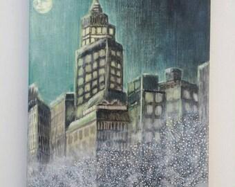 City Street Original Mixed Media Acrylic Art Hand  Painted