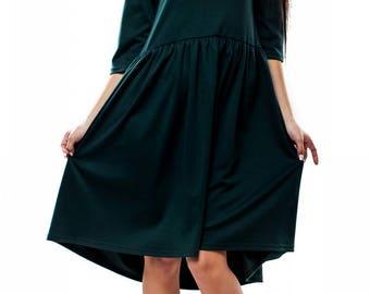 Dark green dress knee dress Spring dress Autumn dress Winter Emerald dress Everyday dress  Boho dress party Free dress Woman dress