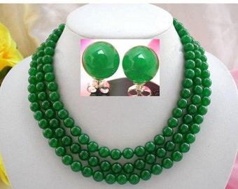 jade set - 3 rows 8 mm green jade necklace & 10 mm earring set