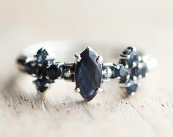 Remember Me Genuine Blue Sapphire Ring handmade in Solid 925 Sterling Silver, Boho Rings, Engagement Rings, Wedding Rings, Promise Rings