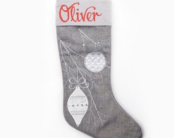 Personalised Silver Bauble Christmas Stocking