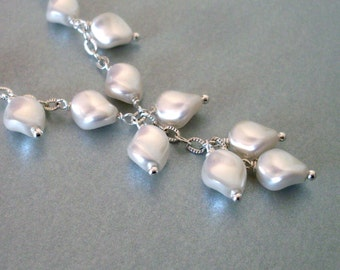 White pearl Y necklace, petal shape, cascading drop, dangles on chain, bright silver, pearl bridal wedding jewelry, unique and feminine