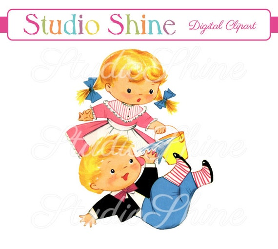 vintage digital clipart jack and jill printable image cute rh etsy com jack and jill pictures clip art jack n jill clipart