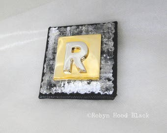 Letter R Gold and Silver Vintage Metal Letter Magnet 2 X 2