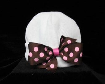 Newborn White Beanie / Hat With Brown & Pink Dot Bow  Made And Ready To Ship