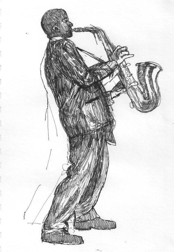 Saxophone joueur dessin impression de mon original stylo et - Saxophone dessin ...