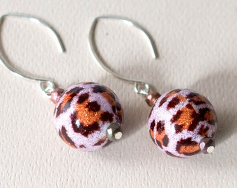 Animal Print Murano Glass Sparkle Dangle Earrings Sterling Silver Leopard Print Handmade Glamorous Jewelry Gift for Woman