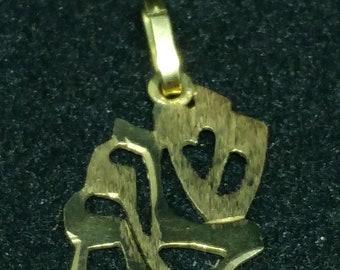 Judaica charm, 14k yellow gold.