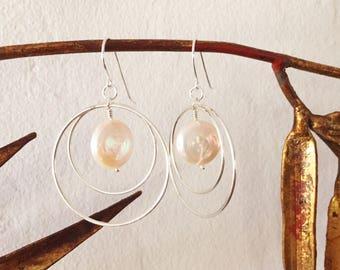 Coin Pearl and Sterling Silver Hoop Earrings