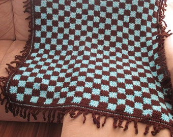 NEW! gift idea NEW! crochet afghan/throw blanket  gorgeous blue & rich brown