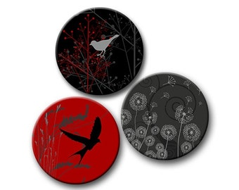 12mm 14mm 16mm 18mm Round Bird Images Red Grey and Black Digital