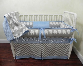 Custom Baby Bedding Crib Set Donovan -  Boy Baby Bedding, Elephant Crib Bedding, Blue and Gray Baby Bedding
