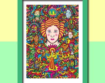 Princess Leia Art Print, Star Wars Art, Psychedelic Art, Star Wars Wall Art, Art Prints, Boyfriend Gift, Husband Gift, Gift For Men, Sci-Fi