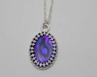 Purple Paua Shell Necklace. Paua Shell. Purple Paua Shell Pendant. Abalone