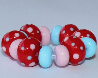 """Handmade Lampwork Beads, 14 Pieces """"Red, Pink and Sky Blue"""", Size about 8.1 to 11.4 mm"""