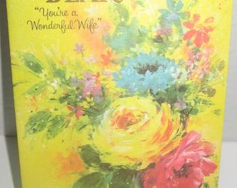 Vintage American Greetings Happy Birthday Dear greeting card. Wonderful Wife. Unused.