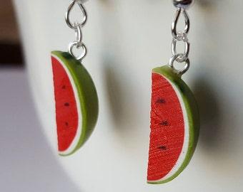 Watermelon Earrings - Food Jewelry - Watermelon Party - Food Earrings - Fruit Earrings - Polymer Clay