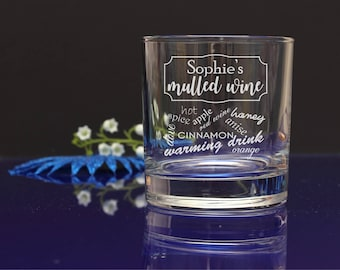 Personalised Engraved Happy Christmas Mulled Wine/ Hot Drink tumbler, mixer glass. great X-mas gift, present 66