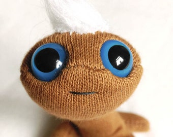 Plush Worm puppet handmade pocket pal brown